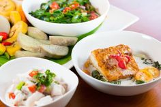 Traditional Fijian dishes prepared at the Flavours of Fiji cooking school. Image courtesy of Flavours of Fiji