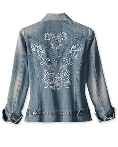 machine embroidery on denim jacket, beautiful!