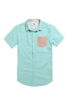 On The Byas utilizes a mint woven for this short sleeve shirt found at PacSun. The Andy Contrast Pocket Short Sleeve Woven Shirt has a wild two tone print chest pocket.