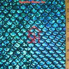 Turquoise on Black Large Fish Scale Lycra Fabric Scales run lengthwise (short direction). 4 way stretch Turquoise Holographic Foil Fish Mermaid Tails, Mermaid Scales, Holographic Foil, Hologram, Black Mermaid, The Little Mermaid, Mermaid Fabric, Fabric Fish, Blues Scale