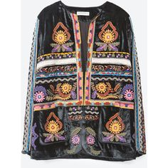 Zara Embroidered Jacket ($169) ❤ liked on Polyvore featuring outerwear, jackets, blue, blue jackets, embroidery jackets, lined jacket, embroidered jacket and zara jacket