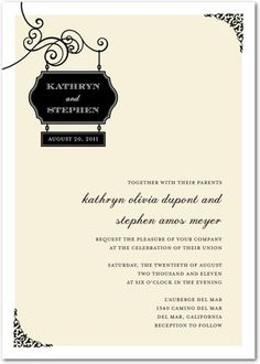 Signature White Textured Wedding Invitations Wedding Sign - Front : Black, $1.74 per card ($279 for 160 cards)