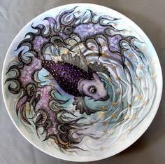 Original by Anna - Purple Fish Porcelain Plate China Painting. $180.00, via Etsy.