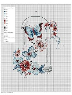 "from album ""Oiseaux, papillons et petites betes au point de croix on Мобильный LiveInternet Oiseaux, papillons et petites betes au point de croix Tiny Cross Stitch, Butterfly Cross Stitch, Beaded Cross Stitch, Cross Stitch Animals, Modern Cross Stitch, Cross Stitch Flowers, Cross Stitch Charts, Cross Stitch Designs, Cross Stitch Embroidery"