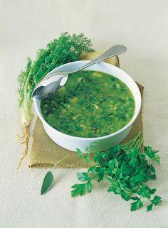 Zuppa di piselli con lattuga