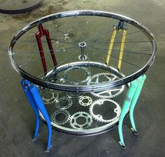 Amazing Coffee Tables Made With Bicycle Wheels And Hoops.
