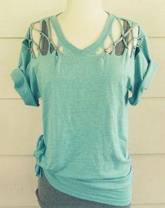 T-Shirt mit Nieten verschönern - coole Bastelidee