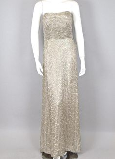 Oscar de la Renta Metallic Gold Strapless Gown with Pearls Size 12 76-1-461 #OscardelaRenta #BallGown #Formal