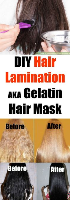 "Most hair lamination procedures are done at the salon and are usually called ""gloss treatments"". The problem with gloss treatments though is that they're very expensive and they also use a lot of chemicals. This DIY hair lamination mask uses only gelatin (the kind you buy at the store, Knox for example) and coconut oil (or any other oil will work just as well!)."