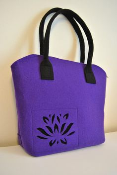 Felt bag purple color with cut out flower pattern Shoulder Bag felt bag tote purse via Etsy $41.29