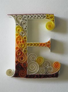 Paper quilling letters is one of the best way to use quilling ideas to make beautiful letters and patterns.Sabeena Karnik paper quilling is popular. Arte Quilling, Quilling Letters, Paper Quilling, Paper Letters, Quiling Paper, Origami, Paper Art, Paper Crafts, Typography Served