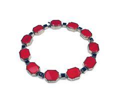 Art Deco Bracelet, Czech Glass, Red Black,Made in Czechoslovakia, Silver Tone…