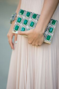 Emerald green clutch.