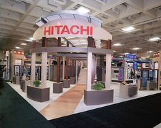 Double Decker Booth for Hitachi Designed and Fabricated By Blazer Exhibits  Events.