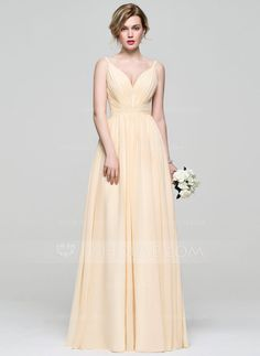 [US$ 110.49] A-Line/Princess V-neck Floor-Length Chiffon Bridesmaid Dress With Ruffle