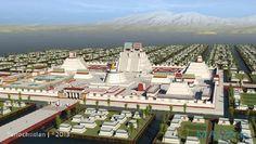 Representación digital del recinto ceremonial de Tenochtitlán (Maya3D, 2013)