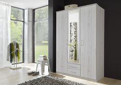 Armoire 3 portes + 2 tiroirs coloris chêne blanc