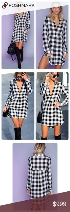 Houndstooth Dress Beautiful Houndstooth Dress! Fabulous with boots! You can't go wrong with this dress! Sext and so stylish ! There are so many ways to make this look yours! This is an absolute must have! #Fashion #Trending Dresses Mini