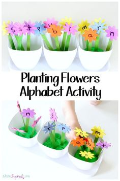 Spring summer craft This planting flowers alphabet activity is such a fun way for kids to learn letters and letter sounds! Plus, kids can practice counting, colors, sorting and more! Teaching The Alphabet, Learning Letters, Kids Learning, Alphabet Activities, Literacy Activities, Preschool Activities, Preschool Alphabet, Language Activities, Preschool Classroom