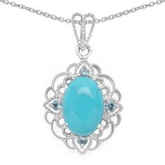 Malaika .925 Sterling Silver 5 3/8ct TGW Turquoise and Topaz Pendant, Women's