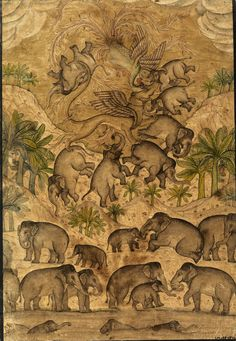 Mythical beasts with a herd of elephants, line drawing with coloured wash, Mughal, ca. 1625-1650