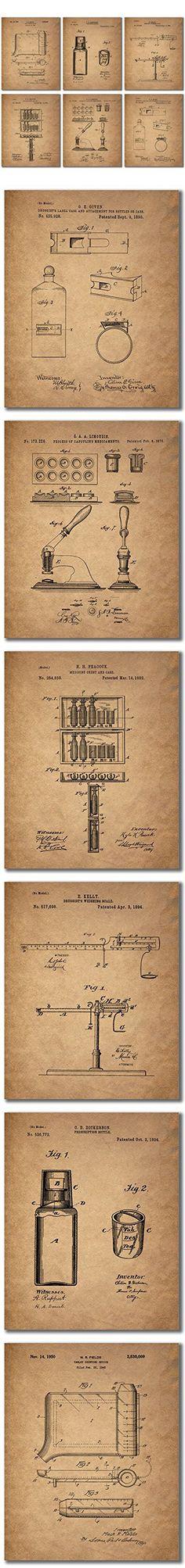 Pharmacist Patent Wall Art Prints - Set of Six Vintage Photos