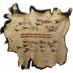 "Native American Painted Buffalo Robe: ""Stealin Horses"" by Michael McLeod"