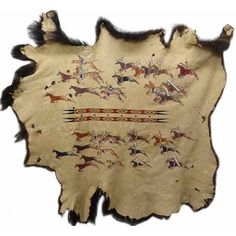 Vintage Native American Hide Painting Plains Indian Hand