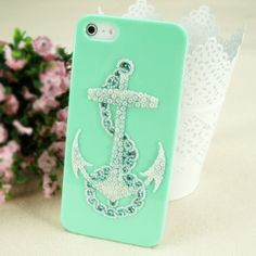 Anchor iPhone Case - Rhinestone Anchor Galaxy S2,S3,S4 Case - Mint Green iPhone 5 Case