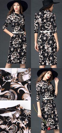 WOMENS FASHION MID SLEEVE PRINT SHEATH DRESS, if like, click http://www.ezpopsy.com/Products/womens-fashion-mid-sleeve-print-sheath-dress-25.html