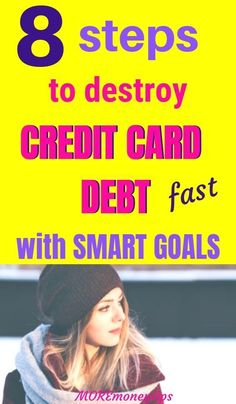 This simple plan helps get rid of your credit card debt for good. My step-by-step SMART GOALS example will teach you exactly how to do it. Debt Repayment, Debt Payoff, Money Tips, Money Saving Tips, Smart Goals Examples, Paying Off Credit Cards, Budgeting Tips, Finance Tips, Money Management