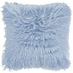Amara Cerus Sheepskin Cushion - 40x40cm - Summer Sky ($135) ❤ liked on Polyvore featuring home, home decor, throw pillows, blue, blue accent pillows, blue home decor, blue throw pillows and blue toss pillows