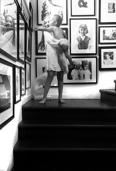 Would like to add pictures of Maggie and Will like this going down the back set of stairs at home.