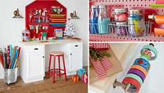 how to make a holiday gift-wrapping station