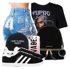 """"""" Cause you a reflection of me shawty """" by mindlesspolyvore ❤ liked on Polyvore featuring Boohoo, MICHAEL Michael Kors, Casetify, Nasaseasons, adidas and Tory Burch"""