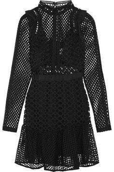 Self-Portrait - Ruffled Organza-trimmed Guipure Lace Mini Dress - Black - UK