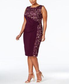 R & M Richards Plus Size Lace Panel Satin Sheath Dress