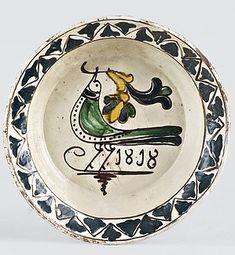 Tányér Beszterce, 1818, mázas cserép Old Wood, Primitive, Decorative Plates, Ceramics, Rustic, Country, Tableware, Pretty, Tips