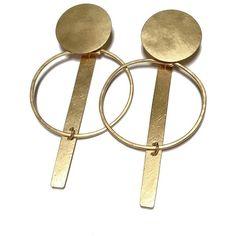 Annie Costello Brown Krikoi Hoop Earrings ($295) ❤ liked on Polyvore featuring jewelry, earrings, kirna zabete, gold jewellery, hammered jewelry, hoop earrings, gold filled jewellery and gold earrings jewelry