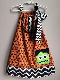 Size 4T......Halloween Frankie Dress......Made by LevonaDanielle