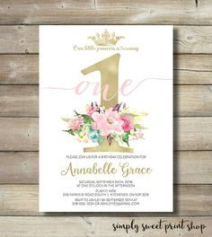 Girl First Birthday Party Invite Invitation Gold Pink Blush Roses Flowers Watercolor Princess Crown Royal Sweet Fun Pretty Popular 1st One