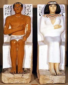 Prince Rahotep and His Wife, Nofret, ca. 2580 BCE. Painted limestone, height 120 cm. Egyptian Museum, Cairo.