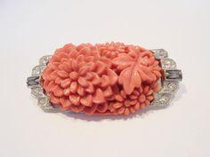 Antique/Vtg Carved Celluloid Coral Brooch Ornate Flowers Floral Art Deco 1920's  #Unbranded