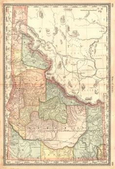 Map of Idaho.  H.H. Hardesty & Co., Rand, McNally & Co. 1883.  Ornamental border. 238-239. Part grid map from Hardesty's Historical and Geographical Encyclopedia. Railroads in black. Huge counties. Shows topography.