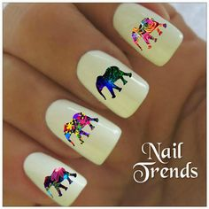 Elephant Nail Decals. Vinyl sticker nail art.        You will receive 20 decal stickers.  5 of each image shown on the nails.  The nail decal stickers