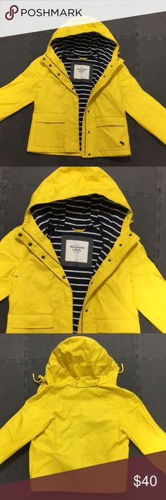 Yellow Abercrombie & Fitch Rain jacket coat Yellow raincoat rain jacket Abercrombie and Fitch. Women's medium. Lined blue stripes. Worn 2-3 times. Smoke free, pet free home. Originally $90. Abercrombie & Fitch Jackets & Coats