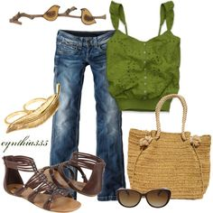 """""""Weekend Wear"""" by cynthia335 on Polyvore ~ love the green Hollister top!!"""