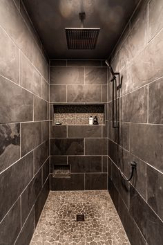 Cave like relaxation + Dark shower tile + rain shower head - Modern Shower Alcove, Rain Shower Bathroom, Tile Walk In Shower, Gray Shower Tile, Shower Faucet Sets, Master Shower, Small Bathroom, Rock Shower, Basement Bathroom