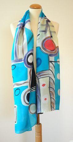 Pañuelo de seda pintado a mano.Fular pintado a por gilbea en Etsy, $52.00