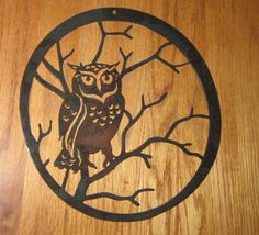 Wise Old OwlMetal Art by frolicnfriends on Etsy